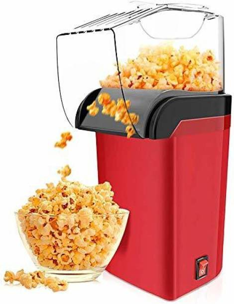 UV Exim Hot Air Popcorn Maker Machine 1200W, Home Popcorn Maker with Removable Top Cover and Measuring Spoon, Healthy Oil-Free for Parties & Kids Easy to Clean, 2-3 Minutes Fast, Red Popcorn Machine 1 L Popcorn Maker