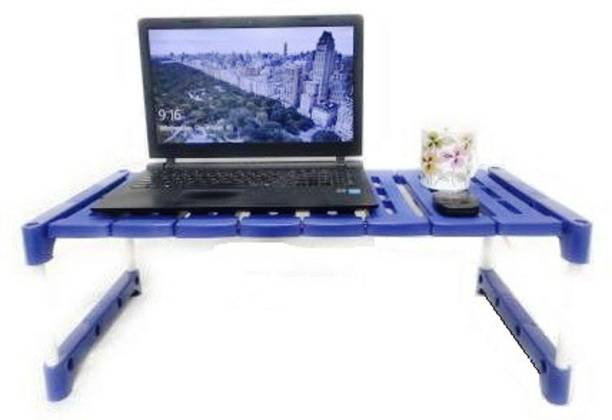 SamayPro White and Blue Table Plastic Portable Laptop Table