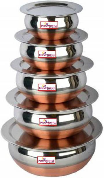NEWLAND kitchenware 5 different size copper handi with lid (5handi+5lid 10pcs set) Handi 1.5 L, 1.2 L, 1 L, 0.8 L, 0.5 L with Lid