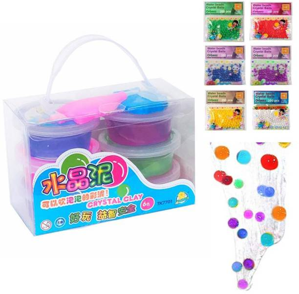 AncientKart Crystal Putty Jelly Slime Set of 6 Multicolor Putty Toy