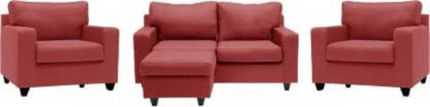 Mofi sofas Fabric 2 + 1 + 1 rust red Sofa Set