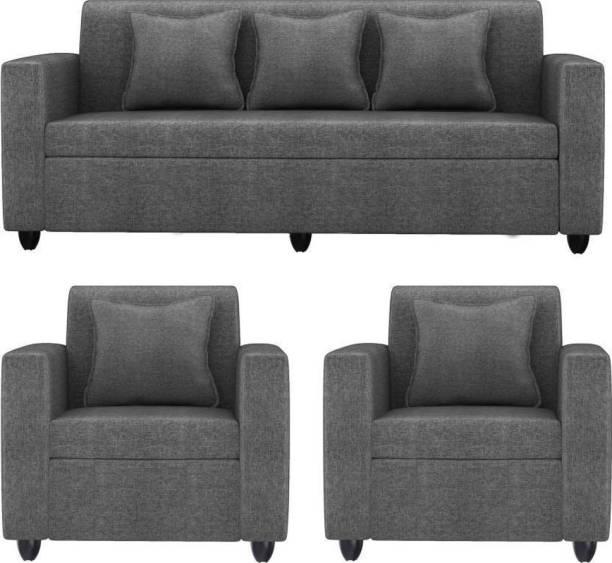Mofi sofas Fabric 3 + 1 + 1 Grey Sofa Set