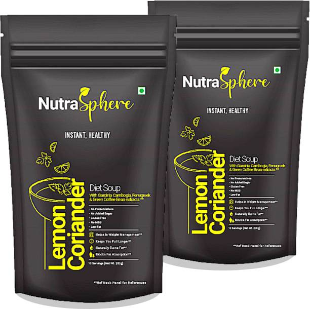 NutraSphere Instant Lemon Coriander Soup Mix Powder with Garcinia Cambojia Pack of 2 (20 Servings, Helpful for Weight Loss)