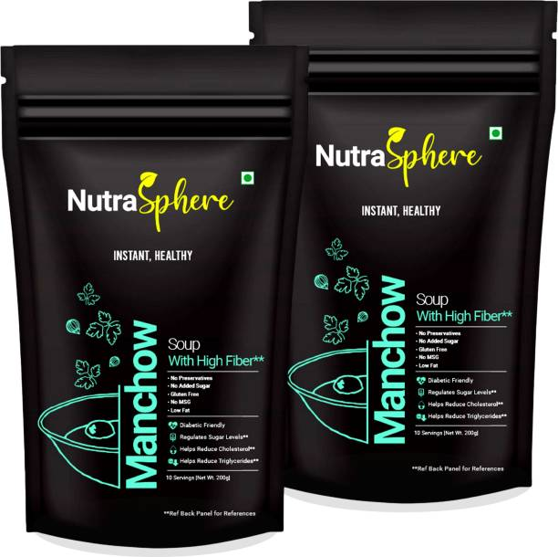 NutraSphere Instant Manchow Soup Mix Pack of 2 (Healthy, High Fibre, Low Fat- 20 Sachets)