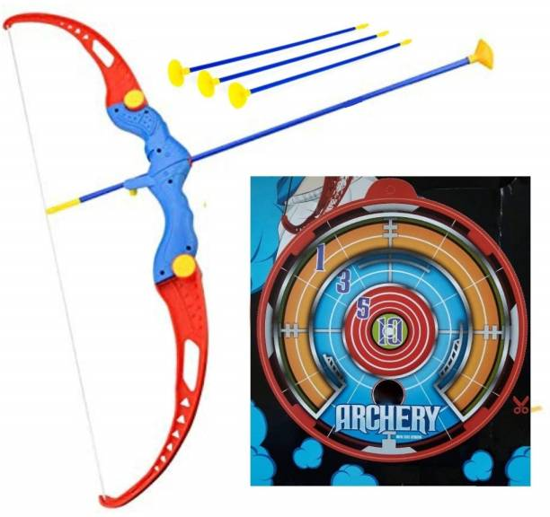 SAMENTERPRISE Kids Archery Bow and Arrow Toy Set with Target Outdoor Garden Fun Game Bow & 3 Cup Suction Arrows Target Bows & Arrows Bows & Arrows