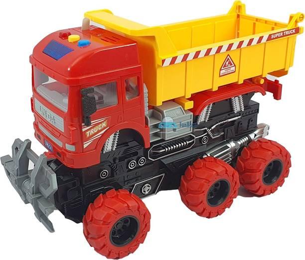 Himanshu Tax 6 wheeler truck dump truck ,360 Rotate Barrels Friction Power Truck Excavator toys dumper truck JCB TOYS Vehicles Truck toys Construction set JCB Truck Toy for kids 3+ Years Old Boys and Girls
