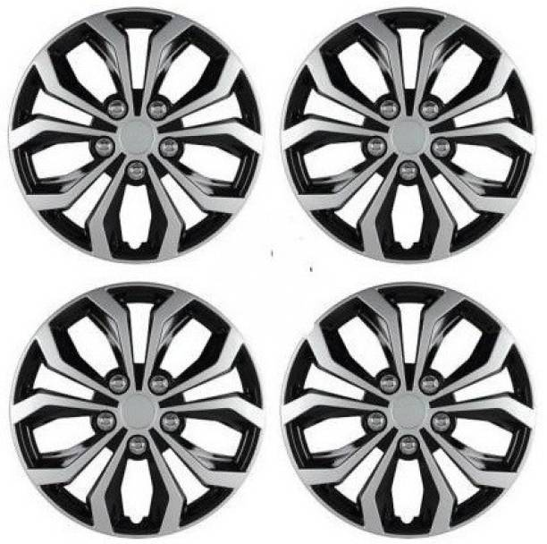 Ubom Dual Color Silver Black 15-inch Tyre Sport Rim cover, Wheel Cover with Rings, wheel cap 15-inch (Set of 4pc, Glossy Silver Black) Wheel Cover Wheel Cover Toyota Innova Wheel Cover For Toyota Innova