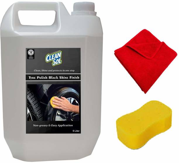 cleansol Tyre Polish Black Shine Finish - 5 litre 5000 ml Wheel Tire Cleaner