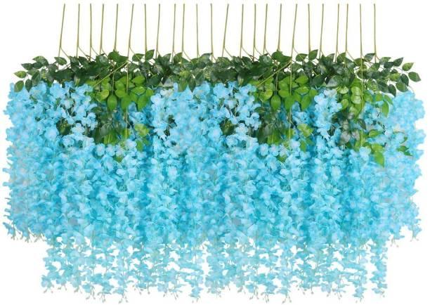 Laddu Gopal Laddu Gopal Artificial Polyester and Plastic Hanging Orchid Flower Vine (110 cm Tall, Blue, Set of 5) Blue Westeria Artificial Flower
