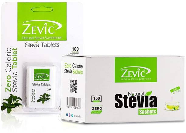 Zevic Zero Calorie Stevia white 100 Tablets & 150 Stevia Sachets | Made with Stevia Extracts | Ideal for People Managing Weight | Healthy Substitute for Sugar, Honey & Other Sweetener