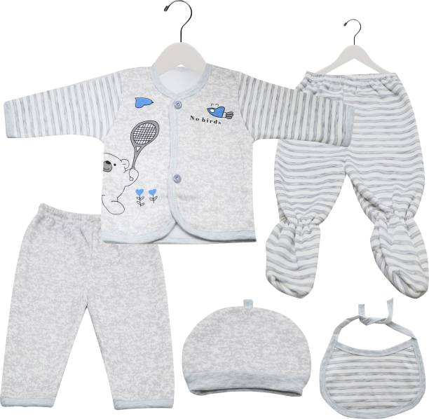 Fancy Walas Presents New Born Baby Winter Wear Keep Warm Baby Clothes 5Pcs Sets Cotton Baby Boys Girls Unisex Baby Fleece/Falalen or Flannel Suit Infant Clothes First Gift of New Baby