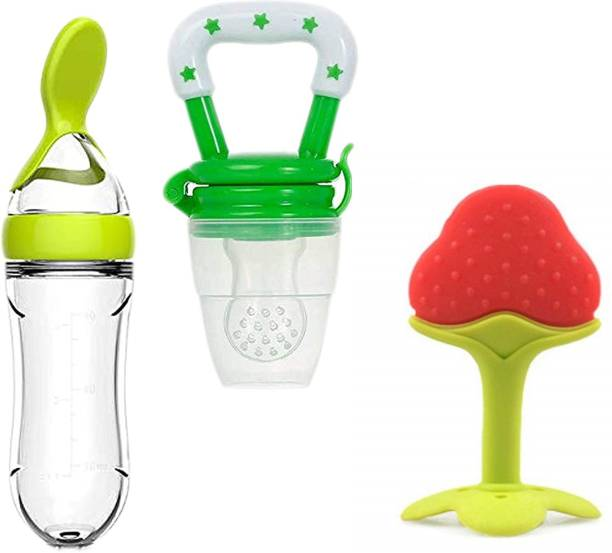 Justlist Infant Baby Squeezy Food Grade Silicone Bottle Feeder & Fruit Shape Silicone Teether with Fruit Pacifier (Squeezy Feeder + Pacifier + Teether) (Pack of 3) - CV-02