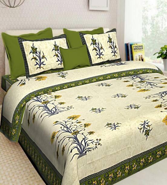 DREAMPOINT 144 TC Cotton Double Floral Bedsheet
