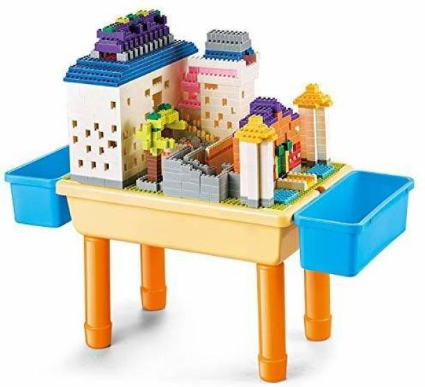 jiyan enterprise1 Build and Learn Table Building Blocks Kit 1000 Piece Building Blocks Compatible Bricks Toy 2 in 1 Block Table (Multicolor)