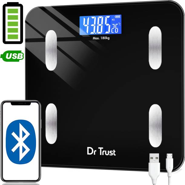 Dr. Trust (USA) Model-509 Bluetooth Digital Smart 2.0 Fitness Body Fat Composition Analyzer Weight Machine For Human USB Electronic Rechargeable Weighing Scale