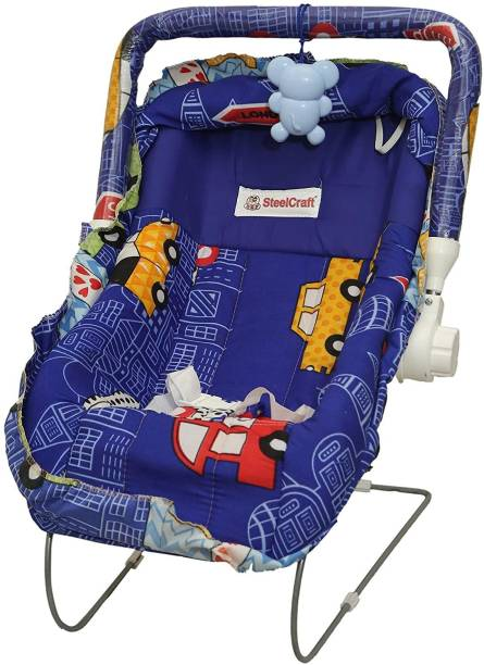 baby tone B.T10 in 1 Carry Plastic Cot/Bouncer with Mosquito Net and Storage Box - Floral Blue Print Rocker and Bouncer