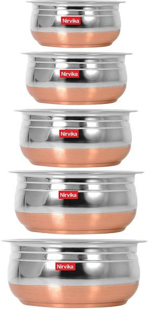 Nirvika Stainless steel handi set Copper Bottom Handi/Urli Pot 5 Piece Set Handi 0.4 L, 0.65 L, 0.85 L, 1.2 L, 1.6 L (Stainless Steel, Copper) Cookware Set / Container/pot pan/patila/bhagona/Serving bowl/biryani cook & serve Set/vessels Stainless Steel Mixing Bowl