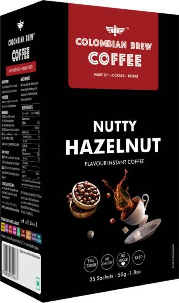 Colombian Brew Hazelnut Instant Coffee, No Sugar Vegan, 50gm Instant Coffee