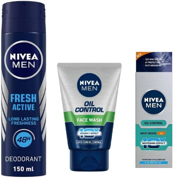 NIVEA Men Active Deo 150ML , OIl Control Face Wash 100Ml , Oil Control Moisturiser Creme 50 ML#10