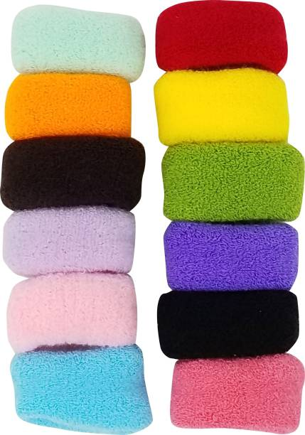 Evolution Small Thick Rubberbands Cottonwool, Extra Soft Bun,Ponytail Holders 12 colors Pack of 12 Rubber Band