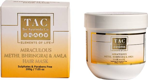 TAC - The Ayurveda Co. Hair Mask For Dry, Oily And Frizzy Hair With The Goodness Of Methi, Bhringraj, Amla, Green Tea, Hydrolysed Keratin - Free From Parabens & Sulphate