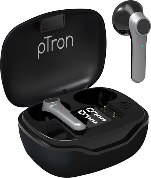 PTron Basspods 281 In-Ear True Wireless Bluetooth 5.1 Headphones with Deep Bass, Touch Control, IPX4 Sweat/Water-Resistant, Stereo Calling & Passive Noise Canceling Earbuds (Black/Grey) Bluetooth Headset