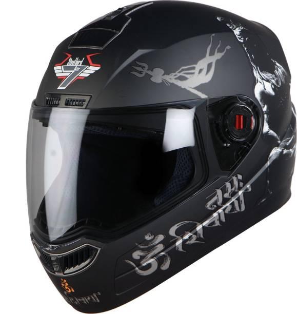 Steelbird SBA-1 Mahadev Full Face Helmet in Matt Black/White with Clear Visor Motorbike Helmet