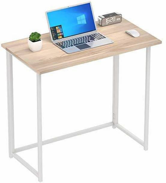 PRITI Folding Desk No Assembly Small Foldable Computer Desk, Home Office Writing Desk for Small Space, Natural Engineered Wood Study Table