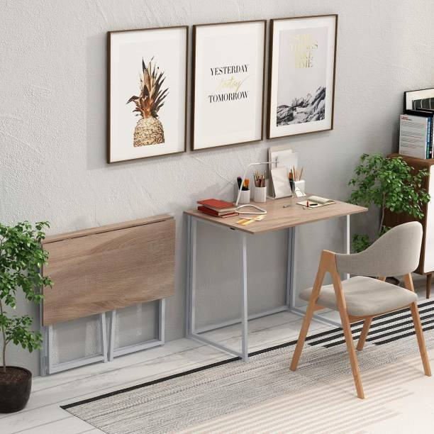 PRITI Folding Desk, No-Assembly Small Computer Desk Engineered Wood Study Table