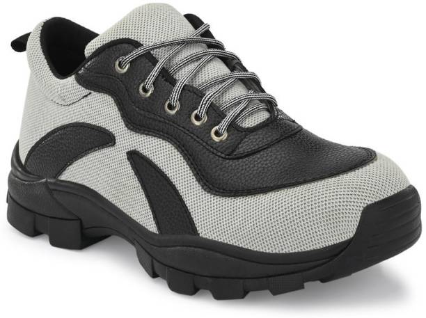 Ozarro Grey Genuine Leather Steel Toe Safety Shoes (S4419) Steel Toe Fabric Safety Shoe