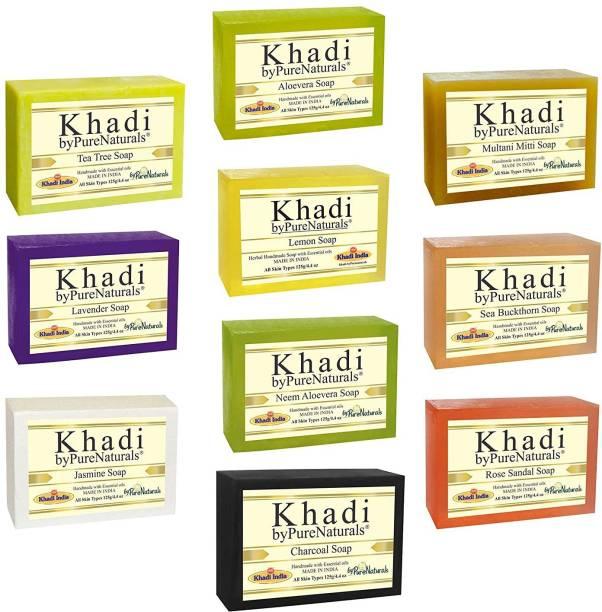 byPurenaturals Khadi Herbal Handmade Natural Soap Combo5 Set Pack of 10