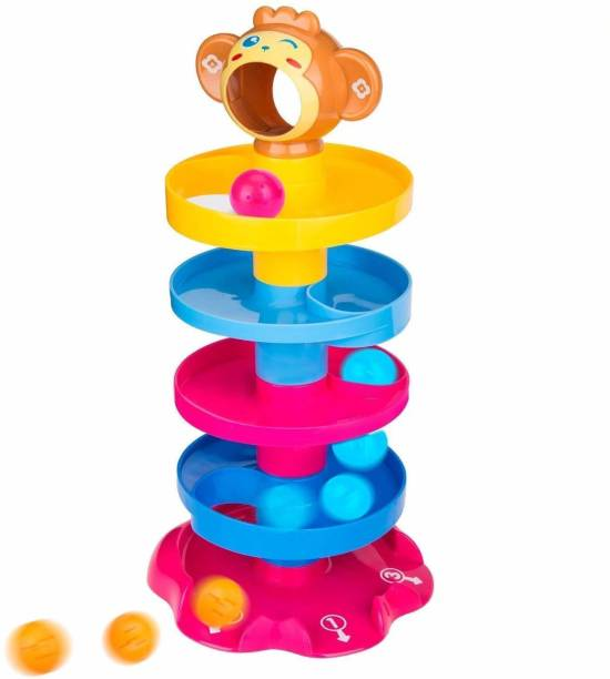 ARONET 5 layer ball drop and roll swirling tower for baby and toddler development educational toys | stack, drop and go ball ramp toy set includes 3 spinning acrylic activity balls- Multi color
