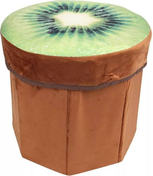 TobbDecor Kiwi Fruit Design Foldable Multi Purpose Velvet Storage Stool Seat for Sitting and Storing Toys & Things Stool