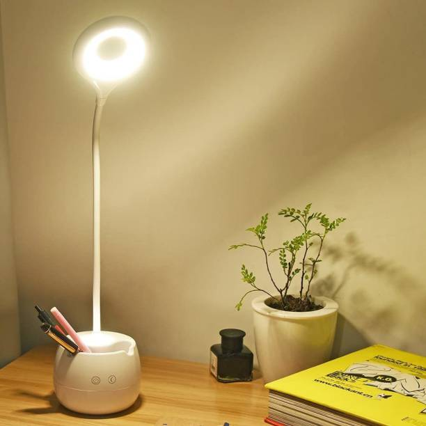 iDOLESHOP Rechargeable Study Desk Light with 3 Shades Touch Control Light Advanced Pen and Mobile Holder Design Table Lamp