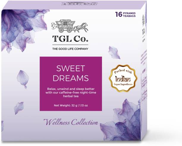 TGL Co. Sweet Dreams Tisane Tea, 16 Tea Bags Chamomile, Peppermint Herbal Tea Box