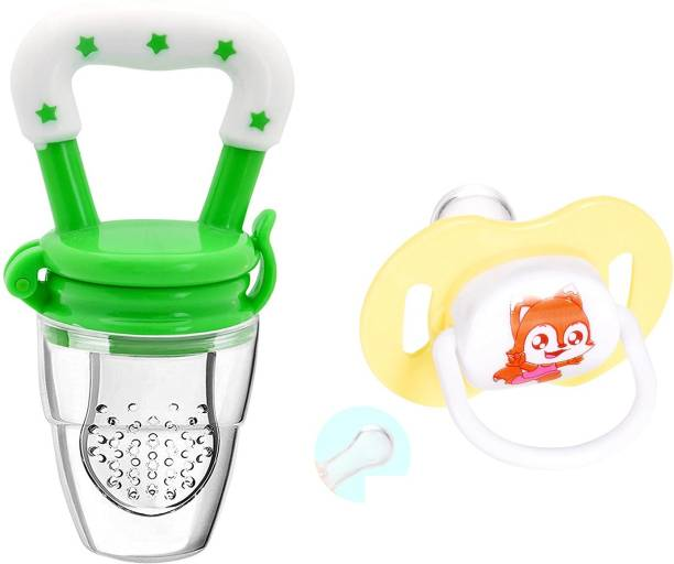 Justlist Combo of Fruit nibbler & Soother New Baby Food Pacifier Baby Nipple Feeder Silicone Pacifier Fruits Infant Feeding Supplies Soother Nipples - NBV-05 Teether and Feeder (Multicolor) Soother