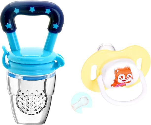 Justlist Combo of Fruit nibbler & Soother New Baby Food Pacifier Baby Nipple Feeder Silicone Pacifier Fruits Infant Feeding Supplies Soother Nipples - NBV-06 Teether and Feeder (Multicolor) Soother