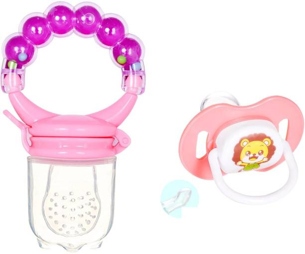 Justlist Combo of Fruit nibbler & Soother New Baby Food Pacifier Baby Nipple Feeder Silicone Pacifier Fruits Infant Feeding Supplies Soother Nipples - NBV-12 Teether and Feeder (Multicolor) Soother Soother