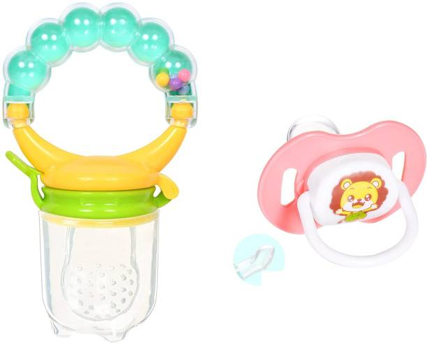 Justlist Combo of Fruit nibbler & Soother New Baby Food Pacifier Baby Nipple Feeder Silicone Pacifier Fruits Infant Feeding Supplies Soother Nipples - NBV-16 Teether and Feeder (Multicolor) Soother Soother