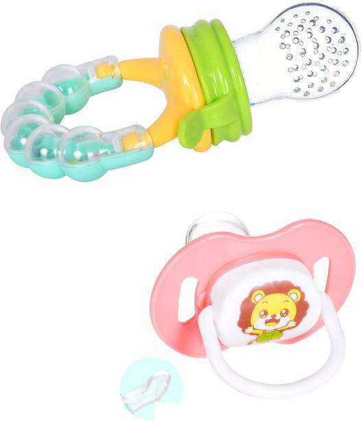 Justlist Combo of Fruit nibbler & Soother New Baby Food Pacifier Baby Nipple Feeder Silicone Pacifier Fruits Infant Feeding Supplies Soother Nipples - NBV-15 Teether and Feeder (Multicolor) Soother Soother