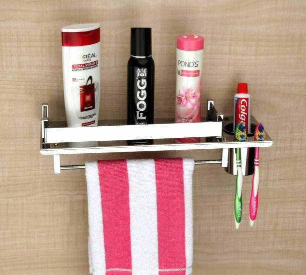 Pillu High Grade Stainless Steel 3 in 1 Multipurpose Bathroom Shelf/Rack/Towel Hanger/Tumbler Holder/Bathroom Accessories Stainless Steel Toothbrush Holder