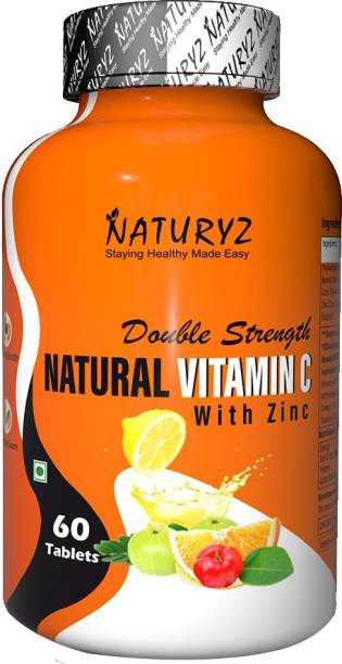 NATURYZ Double Strength Natural Plant Vitamin C & Zinc Supplement 1250 mg for Immunity