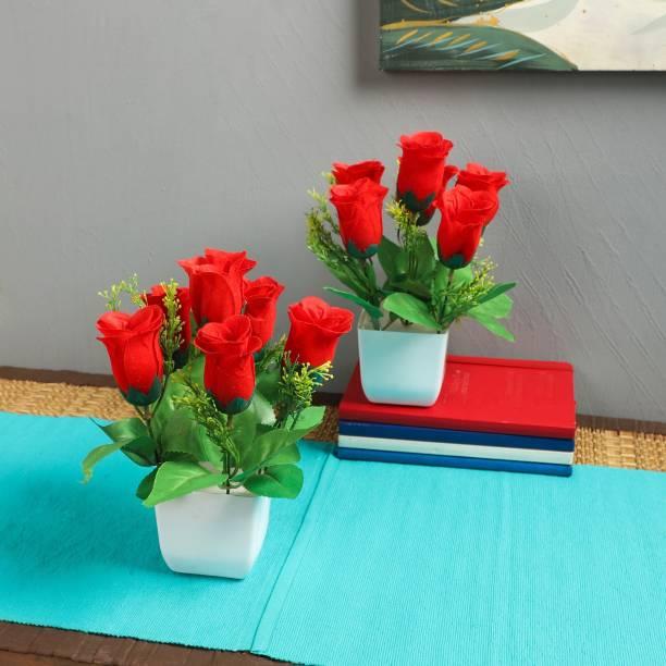Flipkart SmartBuy Multi flower Plant For Home Office Decoration Red Rose Artificial Flower  with Pot