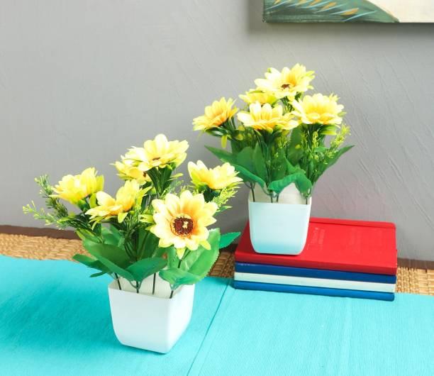 Flipkart SmartBuy Set of 2 Sunflower Yellow Sunflower Artificial Flower  with Pot