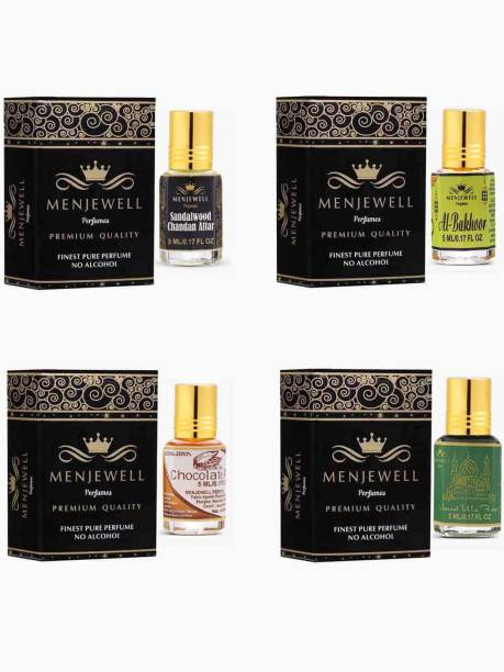 Menjewell Combo Pack of 4PCs Attar(Sandalwood Chandan 5ML,Chocolate Floral 5ML,Jannat ul Firdaus 5ML,AL Bakhoor 5ML)Attar Perfume Floral Attar
