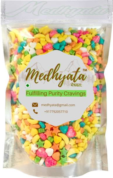 Medhyata Star/Moon/Heart Shaped Candy Sprinkles for Cake Decoration MultiColour Sugar Confectionery Sprinkles