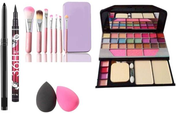 Beauzy BLACK Waterproof,Smudge Proof Kajal & 36H Eyeliner, Washable Makeup Sponge Beauty Blender Puff with Set of 7 Makeup Brushes include storage box& All in One Best Makeup kit 6155 (Eyeshadow,Blusher,Compact,Lip Gloss (6 Items in the set)