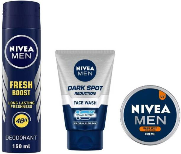 NIVEA Men Fresh Boost Deo 150ML ,Dark Spot Reduction Face Wash 100 Ml ,Dark Spot Reduction Creme 30 ML #138