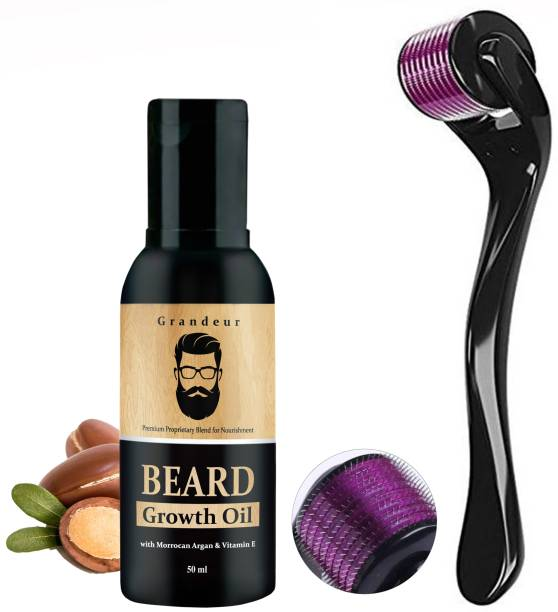 Grandeur Beard Growth Kit With 0.5mm, 540 titanium needle Beard Activator Derma Roller & Beard Growth Oil 50ml | Beard Growth Kit For Men |