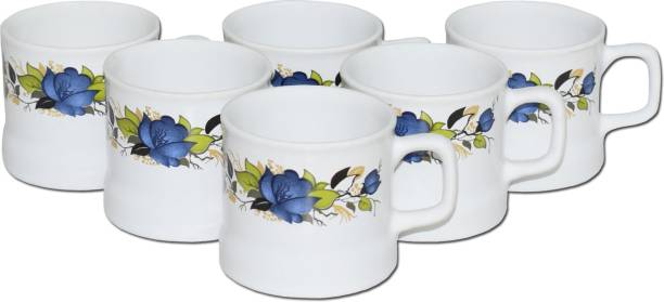 KC Somny Pack of 6 Ceramic Ceramic Floral Border Coffee Cup & Tea Cup Set of 6 (AE2HA) 120ml